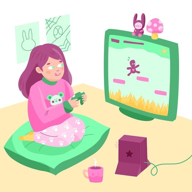 Personaggio che gioca a videogioco Vettore gratuito
