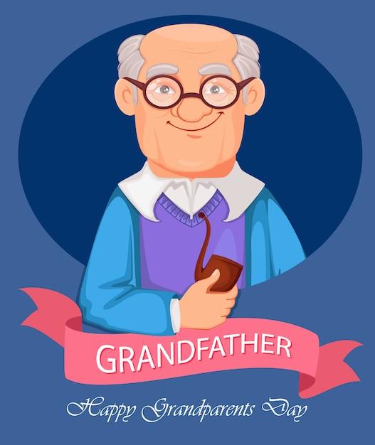 Personaggio dei cartoni animati allegro nonno Vettore Premium