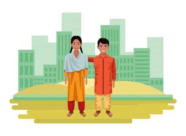 Personaggio dei cartoni animati avatar bambini indiani Vettore Premium