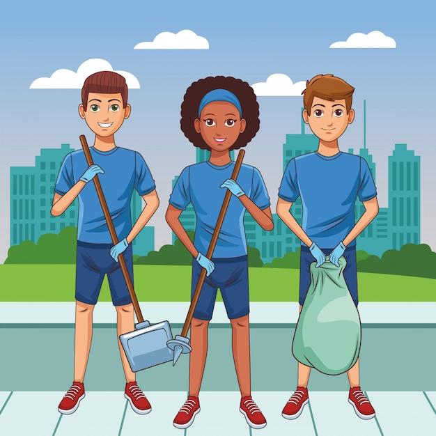 Personaggio dei cartoni animati avatar persona servizio di pulizia Vettore gratuito