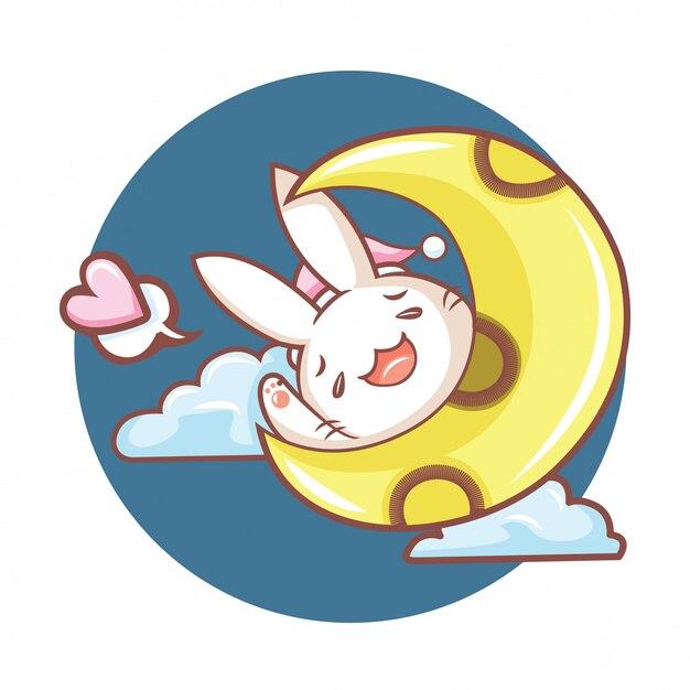 Personaggio dei cartoni animati carino coniglio Vettore Premium