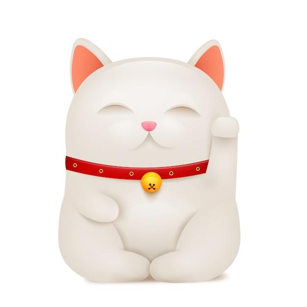 Personaggio dei cartoni animati cinese maneki neko fortunato gatto. Vettore Premium