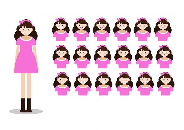 Personaggio dei cartoni animati con carina signora di bella donna Vettore Premium