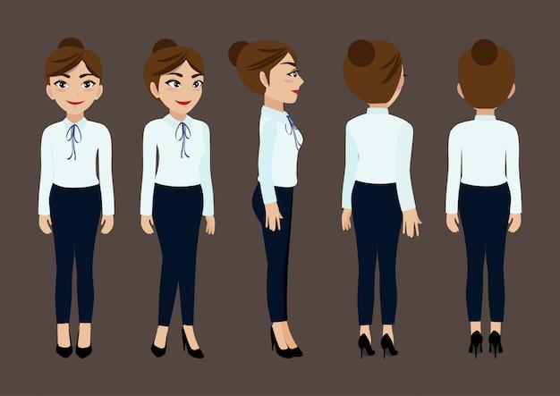 Personaggio dei cartoni animati con donna d'affari per l'animazione. Vettore Premium