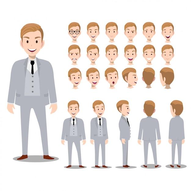 Personaggio dei cartoni animati con l'uomo d'affari in tuta per l'animazione Vettore Premium