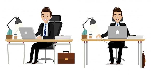 Personaggio dei cartoni animati con la progettazione di vettore del carattere di lavoro dell'uomo d'affari Vettore Premium