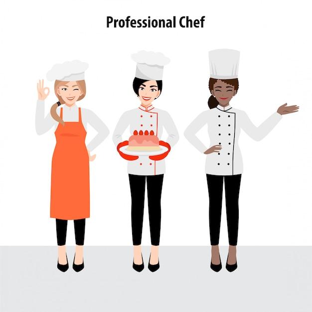 Personaggio dei cartoni animati con lo chef professionista in uniforme, illustrazione piatta Vettore Premium