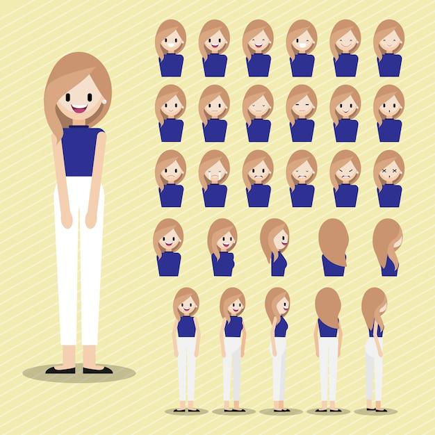 Personaggio dei cartoni animati con set testa ragazza. Vettore Premium