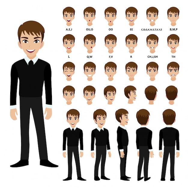 Personaggio dei cartoni animati con un uomo d'affari in tuta per l'animazione. Vettore Premium
