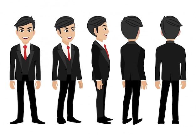 Personaggio dei cartoni animati con un uomo d'affari. Vettore Premium