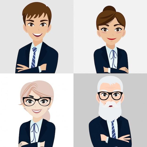 Personaggio dei cartoni animati con uomo d'affari e donna d'affari Vettore Premium