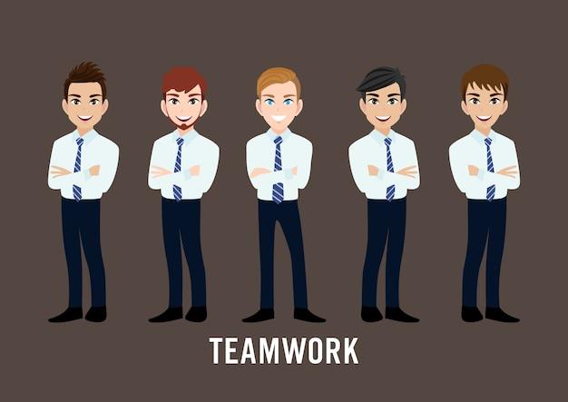 Personaggio dei cartoni animati con uomo d'affari Vettore Premium