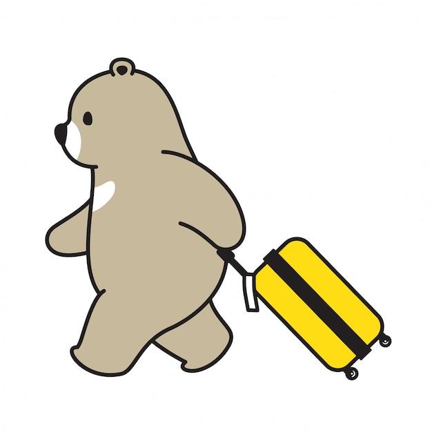 Personaggio dei cartoni animati da viaggio orso polare orso Vettore Premium