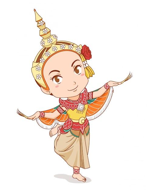 Personaggio dei cartoni animati del ballerino tradizionale tailandese in abito kinnari. Vettore Premium