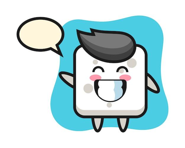 Personaggio dei cartoni animati del cubo dello zucchero che fa gesto di mano dell'onda, stile sveglio per la maglietta, adesivo, elemento di logo Vettore Premium