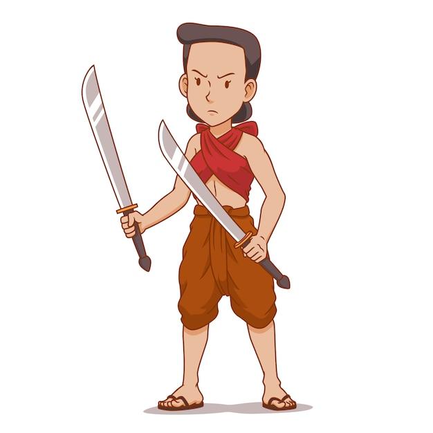 Personaggio dei cartoni animati del guerriero antico thai in possesso di doppi spade. Vettore Premium