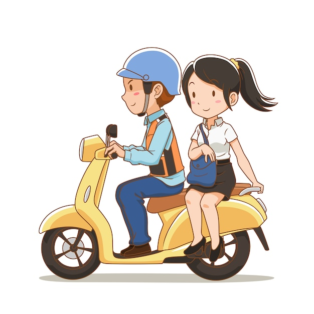Personaggio dei cartoni animati del motociclista tassista e la ragazza in sella a un taxi per motociclette. Vettore Premium