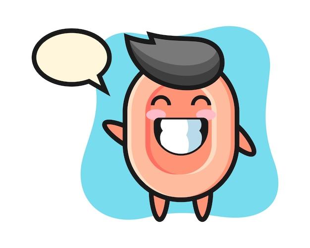 Personaggio dei cartoni animati del sapone che fa gesto di mano dell'onda, stile sveglio per la maglietta, adesivo, elemento di logo Vettore Premium