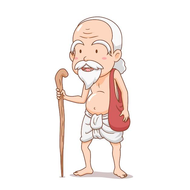 Personaggio dei cartoni animati del vecchio staff bramino. Vettore Premium