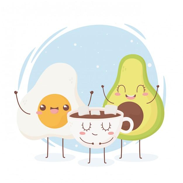 Personaggio dei cartoni animati dell'alimento di kawaii della tazza di cioccolato dell'avocado dell'uovo fritto Vettore Premium