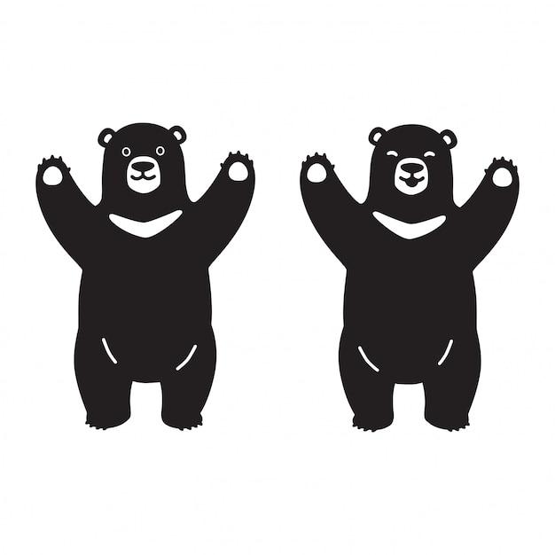 Personaggio dei cartoni animati dell'orso polare Vettore Premium