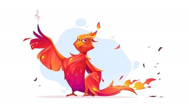 Personaggio dei cartoni animati dell'uccello di fuoco di phoenix o phoenix. Vettore gratuito