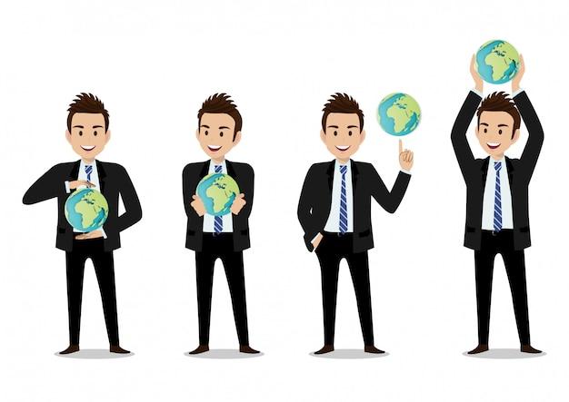 Personaggio dei cartoni animati dell'uomo d'affari, un insieme di quattro pose. bell'uomo d'affari in ufficio stile smart suit Vettore Premium