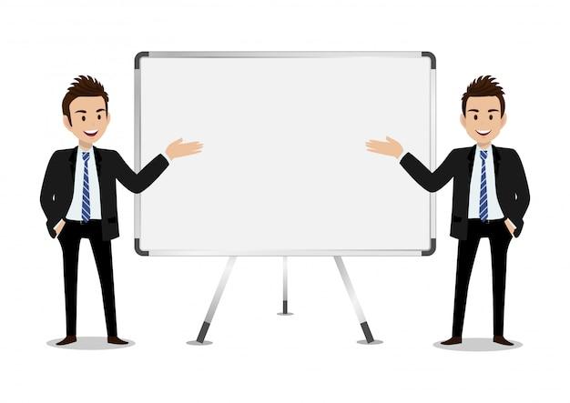 Personaggio dei cartoni animati dell'uomo d'affari, un insieme di quattro pose. bell'uomo in tuta intelligente stile ufficio Vettore Premium