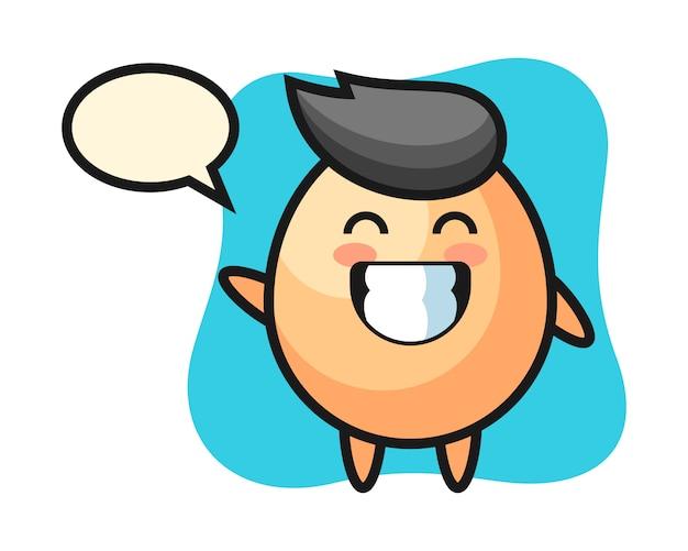 Personaggio dei cartoni animati dell'uovo che fa gesto di mano dell'onda, stile sveglio per la maglietta, adesivo, elemento di logo Vettore Premium
