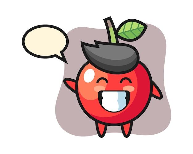 Personaggio dei cartoni animati della ciliegia che fa gesto di mano dell'onda, progettazione sveglia di stile Vettore Premium