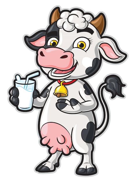 Personaggio dei cartoni animati della mucca che tiene un bicchiere di latte Vettore Premium
