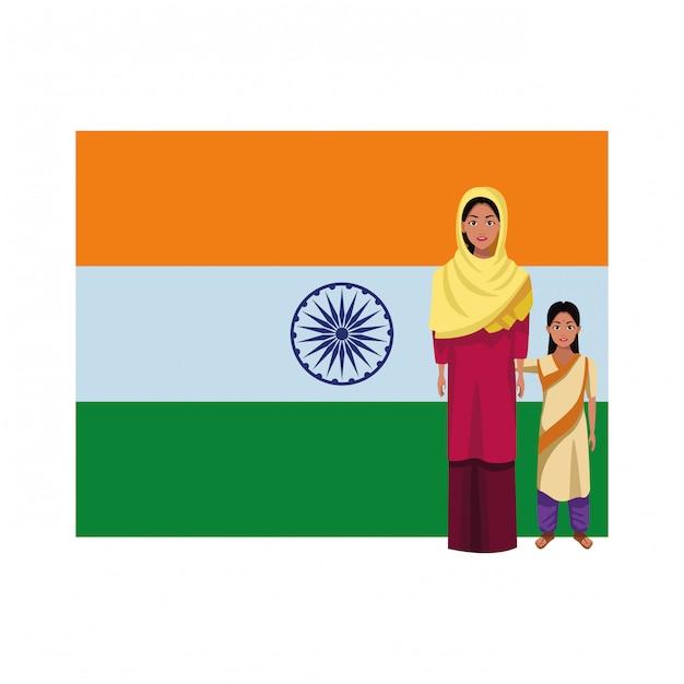 Personaggio dei cartoni animati di avatar famiglia indiana Vettore Premium