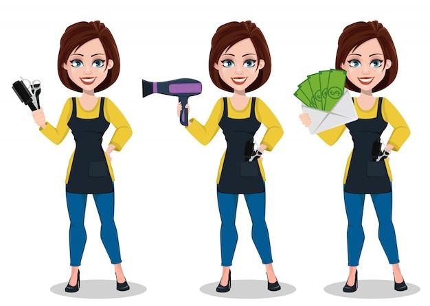 Personaggio dei cartoni animati di bella signora stilista Vettore Premium