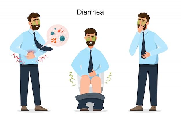Personaggio dei cartoni animati di diarrea uomo Vettore Premium