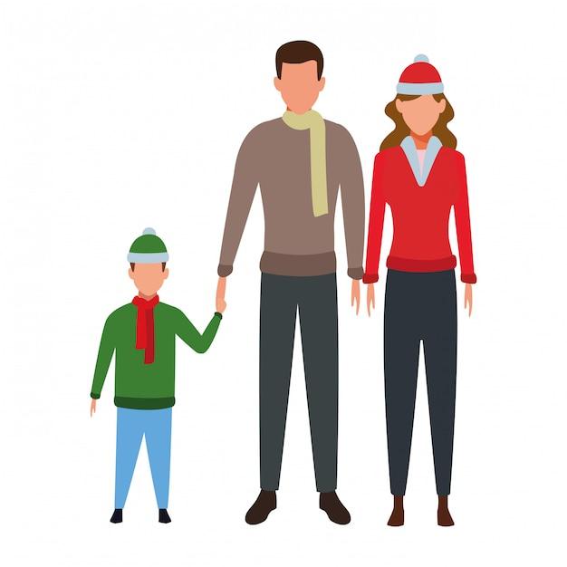 Personaggio dei cartoni animati di famiglia avatar Vettore Premium