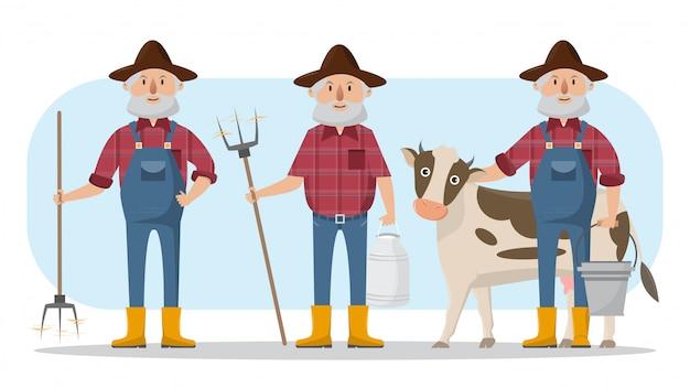 Personaggio dei cartoni animati di famiglia felice agricoltore in fattoria rurale biologica Vettore Premium