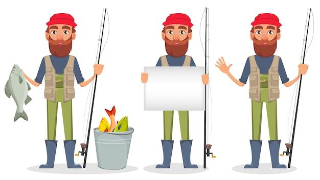 Personaggio dei cartoni animati di fisher, set di tre pose Vettore Premium