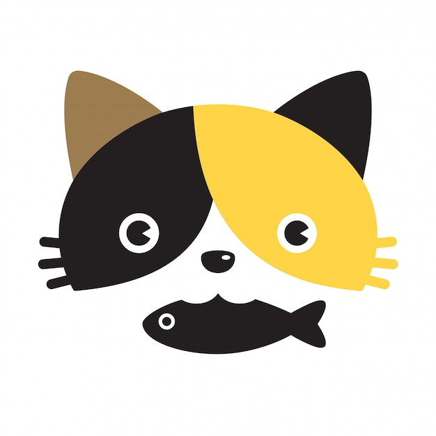 Personaggio dei cartoni animati di gattino di pesce calico di vettore di gatto Vettore Premium