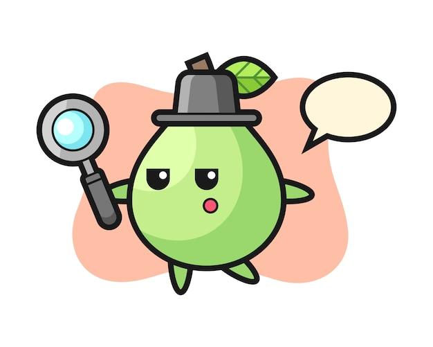 Personaggio dei cartoni animati di guava alla ricerca con una lente d'ingrandimento, stile carino per maglietta, adesivo, elemento logo Vettore Premium