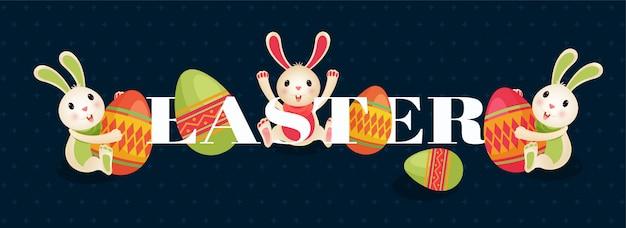 Personaggio dei cartoni animati di simpatico coniglietto e uova con testo di happy east Vettore Premium