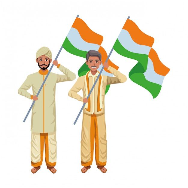 Personaggio dei cartoni animati di uomini indiani avatar Vettore Premium