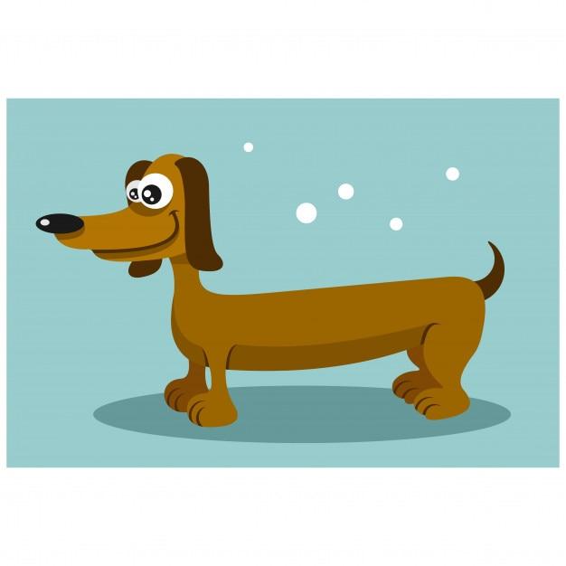Personaggio dei cartoni animati divertente cane lungo bassotto