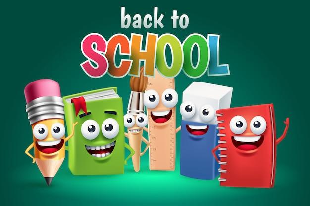 Personaggio dei cartoni animati divertente del rifornimento di scuola, di nuovo al concetto della scuola Vettore Premium
