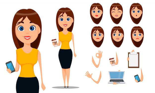 Personaggio dei cartoni animati donna d'affari Vettore Premium