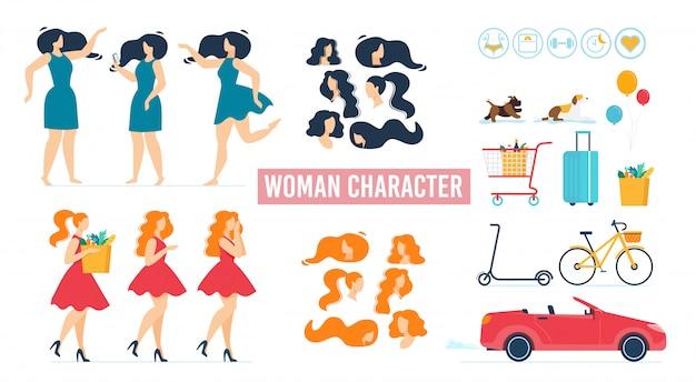 Personaggio dei cartoni animati donna in abito set animato Vettore Premium
