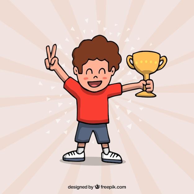 Personaggio dei cartoni animati felice vincendo un premio Vettore gratuito