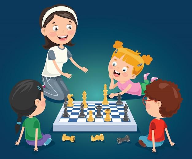 Personaggio dei cartoni animati, gioco di scacchi Vettore Premium