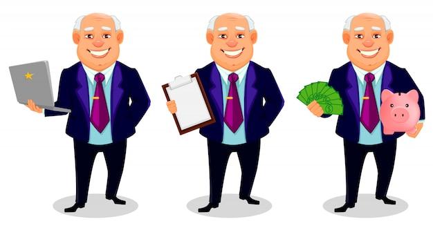 Personaggio dei cartoni animati grasso allegro dell'uomo di affari Vettore Premium