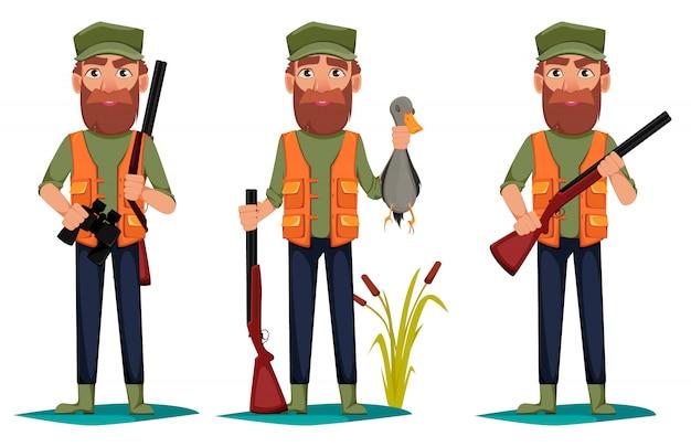 Personaggio dei cartoni animati hunter uomo Vettore Premium