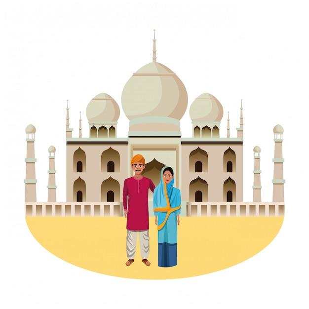 Personaggio dei cartoni animati indiano coppia avatar Vettore Premium